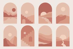 moderne minimalistische abstrakte Berglandschaften ästhetische Illustrationen. böhmische Art Wanddekoration. Sammlung zeitgenössischer künstlerischer Drucke