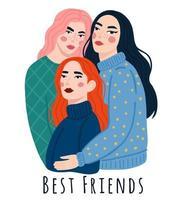tre unga flickor står, kramar och ler vektor