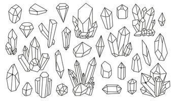 uppsättning geometriska mineraler, kristaller, ädelstenar. geometriska handritade former. trendiga hipster retro bakgrunder och logotyper