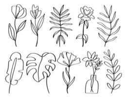 uppsättning av samtida en linje handritad blommig element