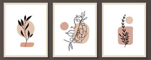 Satz von Frauengesicht und Blumen kontinuierliche Linienkunst