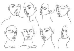 kontinuerlig linjär silhuett av kvinnligt ansikte vektor