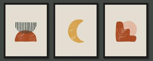 abstrakta samtida estetiska affischer med geometriska former vektor