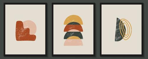boho väggdekor estetiska affischer med geometriska former och texturer vektor