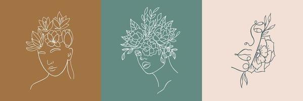 uppsättning abstrakta minimalistiska kvinnliga porträtt. vektor mode illustration i trendig linjär stil. elegant konst. för affischer, tatueringar, logotyper av underklädaffärer