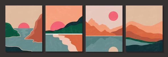 abstraktes zeitgenössisches Landschaftsplakat mit Textur