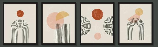 trendiger zeitgenössischer Satz abstrakter geometrischer minimalistischer Formenkomposition