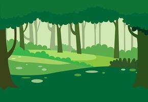 grüner natürlicher Waldhintergrundvektor. Naturlandschaft mit Bäumen. Dschungel Naturszene.