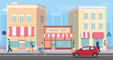 flaches Gebäude einkaufen Straßenmarkt mit Menschen. Stadtbild und Mann zu Fuß. Ladenfassade auf der Straße mit dem Auto. moderne Ladengebäude und Aktivitäten für Menschen. Geschäftsstraßenkonzept