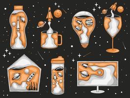 bunte Hand gezeichnete abstrakte Rakete und Planetenillustration vektor
