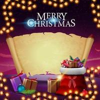 god jul, hälsningsvykort med jultomtepåse med presenter, gammalt pergament för din text och vackra vinterlandskap i bakgrunden vektor