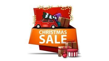 Weihnachtsverkauf, isoliertes Cartoon-Banner mit Geschenken und rotem Oldtimer, der Weihnachtsbaum trägt