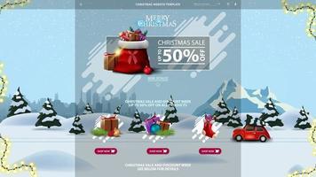 Weihnachtswebsite-Schablone mit Rabattfahne mit Weihnachtsmann-Tasche mit Geschenken und Karikaturwinterlandschaft mit rotem Oldtimer, der Weihnachtsbaum auf dem Hintergrund trägt