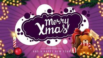Frohe Weihnachten, lila Postkarte mit Girlande, Kerze und Geschenk mit Teddybär