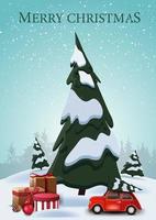 Frohe Weihnachten, vertikale Postkarte mit Karikaturfichten, Drifts, blauem Himmel und rotem Oldtimer, der Weihnachtsbaum mit Geschenken unter Fichte trägt