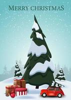 god jul, vertikalt vykort med tecknade granar, drivor, blå himmel och röd veteranbil som bär julgran med presenter under spru e