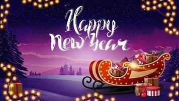 gott nytt år, vackert vykort med vinterlandskap, krans och santa släde med presenter