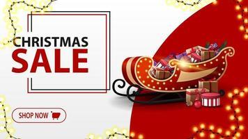 jul försäljning, vit och röd rabatt banner i minimalistisk stil med krans och santa släde med presenter