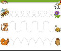 spåra linjer skriva färdigheter pedagogisk arbetsbok vektor
