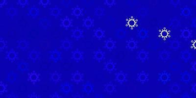 dunkelrosa, blauer Vektorhintergrund mit Virensymbolen.