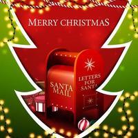 god jul, fyrkantigt rött och grönt vykort i form av julgran i pappersskuren stil med kransar och santa brevlåda med presenter