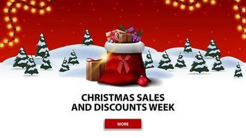julförsäljning och rabattvecka, röd rabattbanner med tecknad vinterskog med granar, röd stjärnhimmel, knapp, krans och jultomtenpåse med presenter