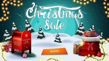 jul försäljning, rabatt banner med vinterlandskap. storblå måne, stjärnhimmel, krans, knapp, jultomten brevlåda och jultomten väska med presenter