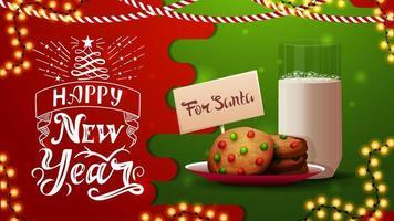 Frohes neues Jahr, rote und grüne Postkarte mit Girlande, schöner Beschriftung und Kekse mit einem Glas Milch für Weihnachtsmann