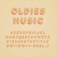 oldies musik vintage 3d vektor alfabetuppsättning