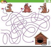 pedagogiskt labyrint spel med tecknade hundkaraktärer vektor