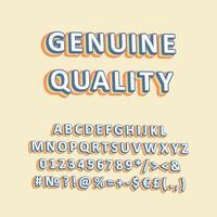 äkta kvalitet vintage 3d vektor alfabetuppsättning