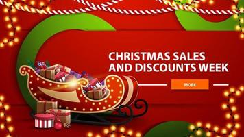 Weihnachtsverkäufe und Rabattwoche, rotes helles horizontales modernes Webbanner mit Knopf, große grüne Kreise und Weihnachtsschlitten mit Geschenken