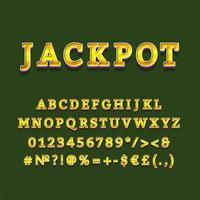 jackpot rubrik vintage 3d alfabetuppsättning vektor