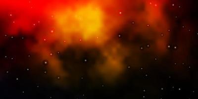 dunkelorange Vektorschablone mit Neonsternen.