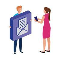 junges Paar und Knopf mit Umschlagpost vektor