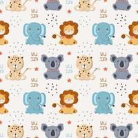 sömlösa mönster med baby vilda djur i den vita bakgrunden vektor