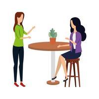 elegante Geschäftsfrauen im Tisch mit Zimmerpflanze vektor
