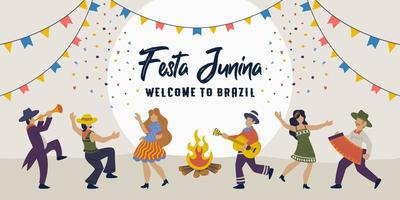 festa junina. Vektor brasilianische traditionelle Feier.