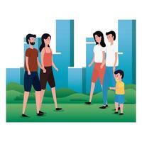 grupp föräldrar med lilla son på parkens karaktärer