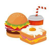 läcker hamburgare med smörgås och dryck snabbmat ikon