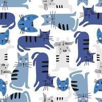 nahtloses Muster mit niedlichen Katze bunten Kätzchen. kreative kindliche Textur. ideal für Stoff, Textilvektorillustration. vektor