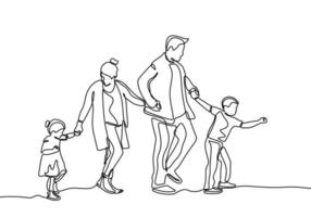 kontinuerlig linje ritning av familjemedlemmar. far, mor, dotter och son som håller händerna ihop. vektor