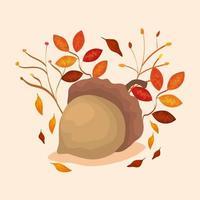 Nuss mit Herbstblättern vektor