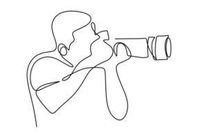 Mann Fotograf mit einer Kamera macht Bilder im Freien. kontinuierliche Strichzeichnung eines schwarzen Umrisses eines Journalisten oder Fotografen bei der Arbeit. zur Animation. Vektor monochrom, Zeichnen durch Linien.