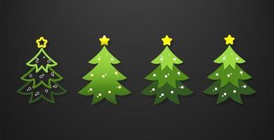 uppsättning julgranar vektor