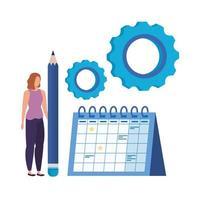 junge Frau mit Kalendercharakter vektor