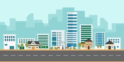 stadslandskapsvektor med moderna byggnader och förort med privata hus på en bakgrund. vektor