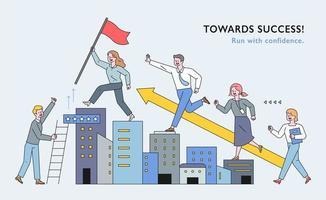 Geschäftsleute klettern wie Treppen über das Gebäude. vektor
