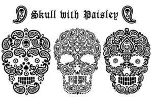 Schädel mit Paisley Design Set vektor