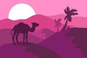 ökenlandskap med kamel siluett platt illustration vektor